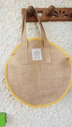 Hessian round bag with a rustic feel ideal for going out or a day at the beach lovely summer bag - Excited to share the latest addition to my shop: Hessian round bag with a rustic feel ideal f - Hessian Bags, Jute Bags, Round Bag, Summer Bags, Love Sewing, Rustic Feel, Cloth Bags, Hobo Bag, Bag Making