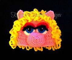 MISS PIGGY Sesame Street Crochet Hat Beanie. $25.95, via Etsy.