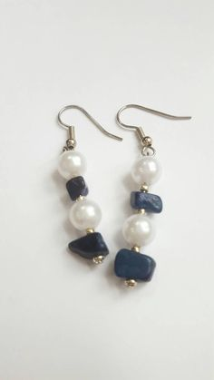 Check out this item in my Etsy shop https://www.etsy.com/listing/508453615/blue-stone-and-pearl-earrings-with