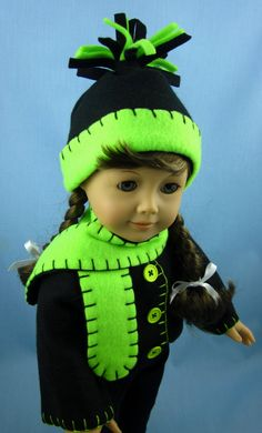 American Girl Doll Clothes  Fleece Jacket Hat by SewMyGoodnessShop, $20.00
