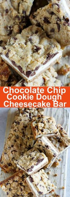 Chocolate Chip Cookie Dough Cheesecake Bar - BEST cheesecake bar EVER with chocolate chips, cookie dough and cheesecake, every bite is sinfully sweet | rasamalaysia.com