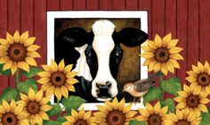 """""""Cow,Bird and Sunflowers,"""" Stephanie Stouffer Cow Pictures, Vincent Van Gogh, Pony Rides, Farm Art, Cow Painting, Shadow Art, Cow Art, Milk Cans, Flag Decor"""