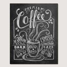 Coffee Shop Decor  Coffee Print  Coffee Illustration by LilyandVal, $19.00