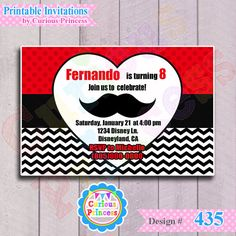 435 mustache invitations 4x6 valentines by CuriousPrincessParty, $9.99 baby shower first second happy birthday party ideas cute stache unisex boy girl girly februrary 14