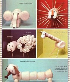 marshmallow Easy Arts and Crafts for Kids . They will prolly eat them they r finished! Projects For Kids, Crafts For Kids, Art Projects, Easy Arts And Crafts, Food Crafts, Animal Crafts, Animal Decor, Craft Activities, Indoor Activities