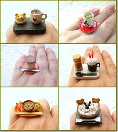 Cher Cabula's Mindbox: Too cute Food Rings Unique Ring Designs, Unusual Rings, Tiny World, Food Reviews, Cute Food, Food Art, Fashion Rings, Creations, Blog