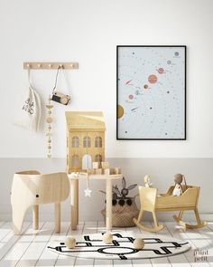 The Solar System Print Neutral Space Nursery Print | Etsy