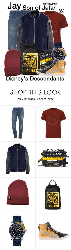 """""""Disney's Descendants"""" by wearwhatyouwatch ❤ liked on Polyvore featuring True Religion, Versace, Var/City, McQ by Alexander McQueen, Emporio Armani, Diesel, women's clothing, women, female and woman"""