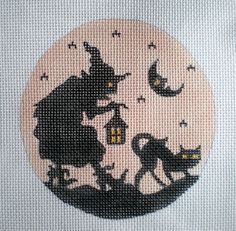 Silhouette Witch and Cat Needlepoint Canvas. $18.00, via Etsy.