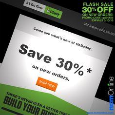 NEW GoDaddy Promo Code: gd5445b. Save 30% on new orders. Expires 5/10/15. www.godaddy.com