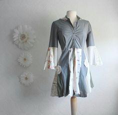 Women's Gray Tattered Long Top Shabby Chic Mini Dress Bell Sleeves Upcycled Clothing Eco Fashion Shirt Small Medium 'LEENA'. $69.00, via Etsy.