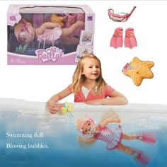 41.56$  Know more - http://aidc0.worlditems.win/all/product.php?id=32795215475 - Hot Sale New Pink reborn baby doll can diving swimming in the water with doll masks flippers plastic bath toy New born baby doll