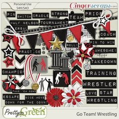 wrestling scrapbook layouts | 25 Word Tag Strips and 23 Wrestling Elements Part of the Ginger Scraps ...