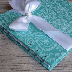 Wedding Guest Book Aqua Blue Floral Paisley by EmersonBindery