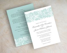 Vintage Lace Wedding Invitations. Shown in light teal (juniperberry) and slate gray. Printed front and back. www.appleberryink.com