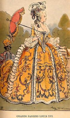 Fashion plate of Madame duBarry with parasol. From 1743 to 1793, she was the King of France Louis XV's mistress. She was married to Louis XV's brother, Guillaume, for a short time before being installed at court.. She continued to assert her influence on Louis XV until he died and she left the court.