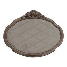 """Memory board with a rose cluster finial.  Product: Memory boardConstruction Material: ResinColor: GreyDimensions: 20"""" H x 26"""" WCleaning and Care: Wipe with a damp cloth"""