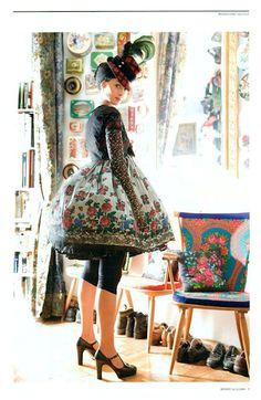 Austrian designer Susanne Bisovsky in her own crazy dirndl collection