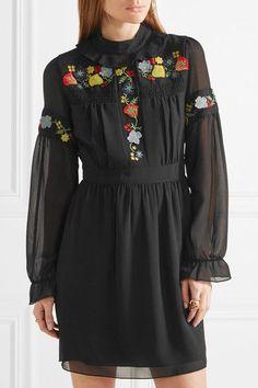Anna Sui - Embroidered Georgette Mini Dress - Black - US12