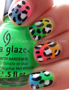 Neon Gradient Leopard Print using all the colors in the China Glaze Poolside Collection.