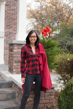 Casual Red and Black Plaid Lumber Girl with Steve Madden Red Riding Hood Cape - Kate Style Petite