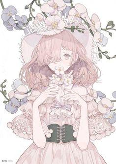 #Fille #Chapeau #Corset fleur #Dessin ririfaust #Manga