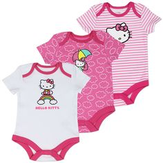 Hello Kitty Newborn Baby's 3-Pack Hello Kitty Onesies