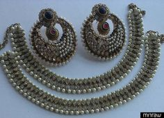 Designer earrings with traditional anklets