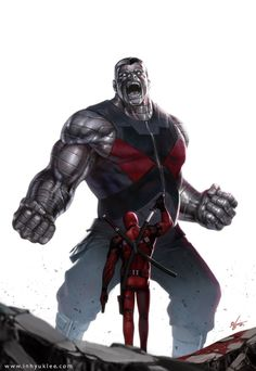 Colossus vs Deadpool (is this even a contest? Colossus would destroy) Comic Movies, Comic Book Characters, Marvel Characters, Comic Character, Comic Books Art, Comic Art, Art Movies, Fictional Characters, Heros Comics