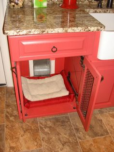 for when we get a dog! Dog Kennel Design, Pictures, Remodel, Decor and Ideas - page 10 Dog door leading into hidden kennel - pure genius! Dog Kennel Designs, Kennel Ideas, Dog Kennel Cover, Dog Rooms, Dog Crate, Dog Houses, Decoration, My Dream Home, Diy Home Decor