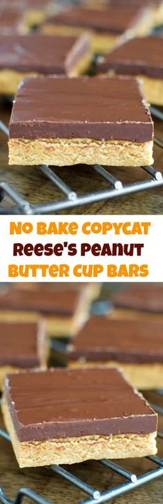 No Bake Reese's Peanut Butter Cup Bars- 5 ingredients and 10 minutes are all you need!!