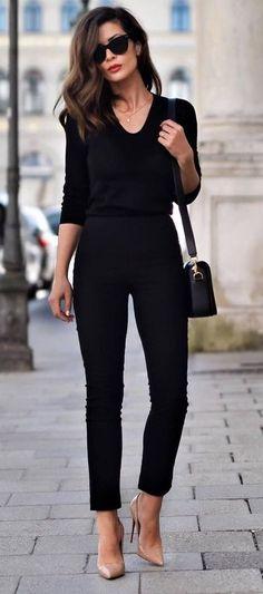 all black everything + nude heels