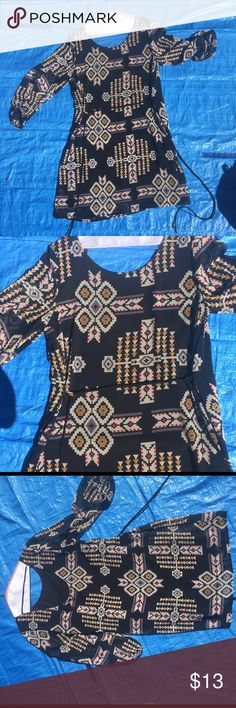 Tribal print dress Black with tribal print, leather braided belt. Size L Dresses Mini