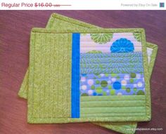 Quilted Snack Mats Mug Rugs mini Quilts by PatsPassionQuilteds, $14.40