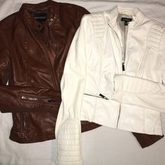 EXPRESS faux leather jacket brown from Express with silver hardware. extra small. has a bit stretch to it and could fit a small also. has a pocket on the inside, in the lining of the coat. gorgeous coat!!! has a little bit of cracking on the back of the left shoulder.                                           Cheaper on Ⓜ️erc @Brisette Express Jackets & Coats
