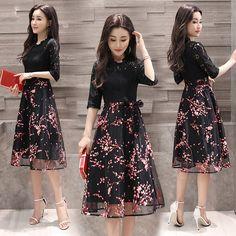 레이스 드레스 여성의 봄과 여름 2017 새로운 기질 드레스 새로운 도착 얇은 허리 오간자 스커트이었다