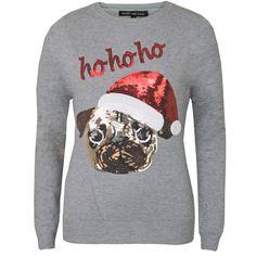 Womens-Ladies-Novelty-Sequin-Pug-Snowman-Rudolph-Christmas-Xmas-Jumper-Sweater