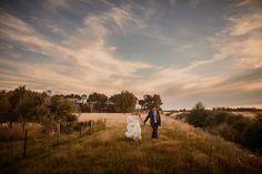 Teresa + Heath - sunset wedding portraits in the field behind venue | Cossars Wineshed wedding venue, Canterbury, New Zealand
