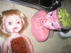 doll dip dishes...this is by far the creepiest Halloween decoration idea ever!