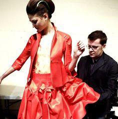 Parisian designer Lefranc Ferrant fitting session