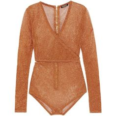 BALMAIN  Cutout wrap-effect metallic stretch-knit bodysuit (2,080 SAR) ❤ liked on Polyvore featuring intimates and shapewear