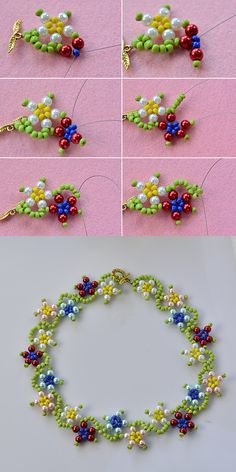 colorful flower necklace, wanna it? will release the tutorial soon. Beaded Necklace Patterns, Beaded Earrings, Beaded Bracelets, Pandora Bracelets, Necklace Tutorial, Diy Necklace, Flower Necklace, Pearl Necklace, Seed Bead Jewelry