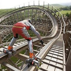 7/21/2009, Dirk Auer became the first person ever to roller skate down a Mammoth roller coaster at the Trips Drill Theme Park in Stuttgart, Germany. It took Dirk just 60 seconds, reaching speeds of 56 mph. He spent 2 years planning and months of training to be able to pull off this stunt. WOAH Dirk. WOAH.