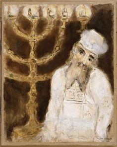 Aaron in front of the golden candlestick with seven branches, executed as prescribed by the Lord - Marc Chagall