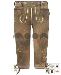 Nockherberg Trachten Kniebundhose Braun Art. #MnS-60-0092927 Length: Knee bound (Kniebund) Material: Deer skin Buttons: Deer horn  DESCRIPTION Narrow-cut traditional Kniebundhose in antique brown by Moon Sports. With numerous embroidery in yellow and green on the bib and trouser leg, staghorn buttons and leather cuffs at the leg end. The Nockherberg Trachten Kniebundhose can be adjusted in the width on the buttocks and on the leg. Lederhosen, Deer Skin, Leather Cuffs, Horn, Parachute Pants, Trousers, Buttons, Embroidery, Traditional