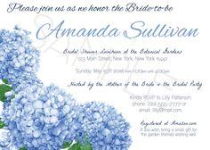 Hydrangea Bridal Shower Invitations / set of 20 / 5 colors ...