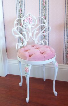 Vintage White Scrolly Boudoir Vanity Chair Stool with Hand Painted Pink Roses…