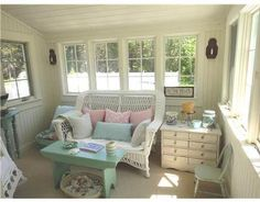 cottage makeover sunroom | For Sale A Coastal Cottage Decorated by Tracey Rapisardi Picture via