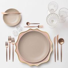 Putting together all kinds of prettiness for an out of state wedding next Spring  Our Anna Weatherley Chargers in Desert Rose + Heath Ceramics in French Grey + Rose Gold Flatware + Early American Pressed Glass/Coupe Trios + Antique Crystal Salt Cellars Rose Gold Weddings || Aisle Perfect