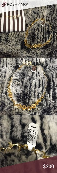 Authentic Henri Bendel Gold Crystal Chocker NWT Gorgeous authentic gold party crystal chocker. MSRP is $228 + tax. Necklace is adjustable and the clasp is perfectly easy to use! Chain is gold and the crystal is also gold colored. Includes designer bag. Please reach out with any questions :) henri bendel Jewelry Necklaces